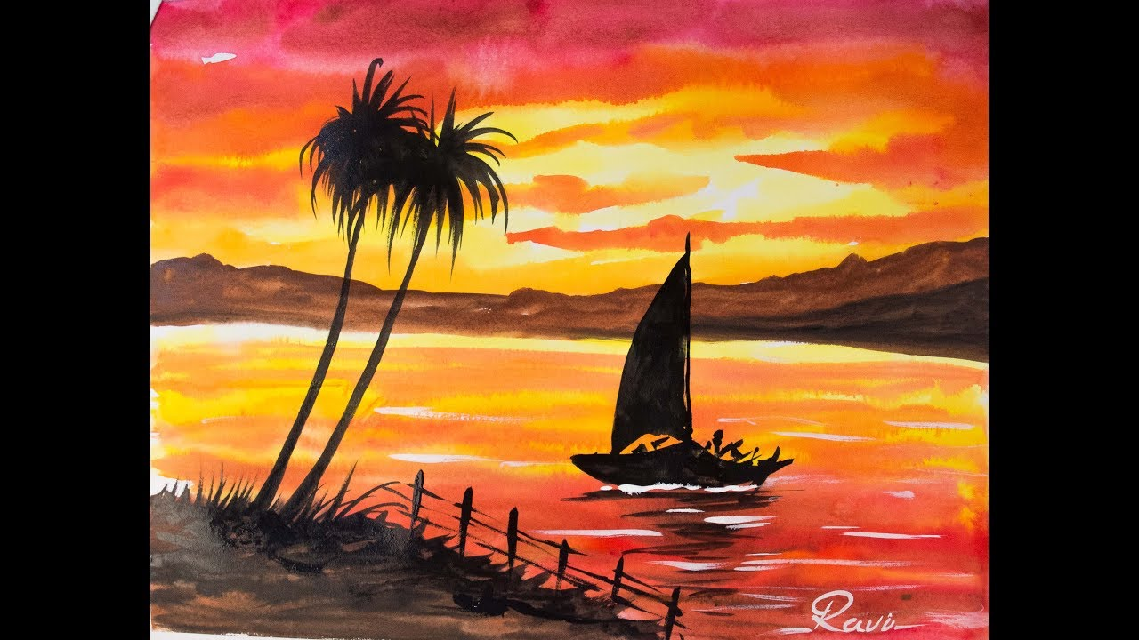 Sunset Landscape Easy Watercolor Painting