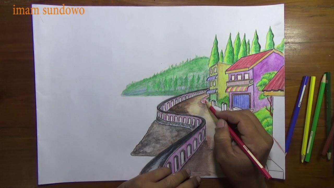 Menggambar Pemandangan Pantai Menggunakan Pensil Warna Youtube