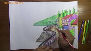101+ Gambar Air Terjun Menggunakan Pensil HD