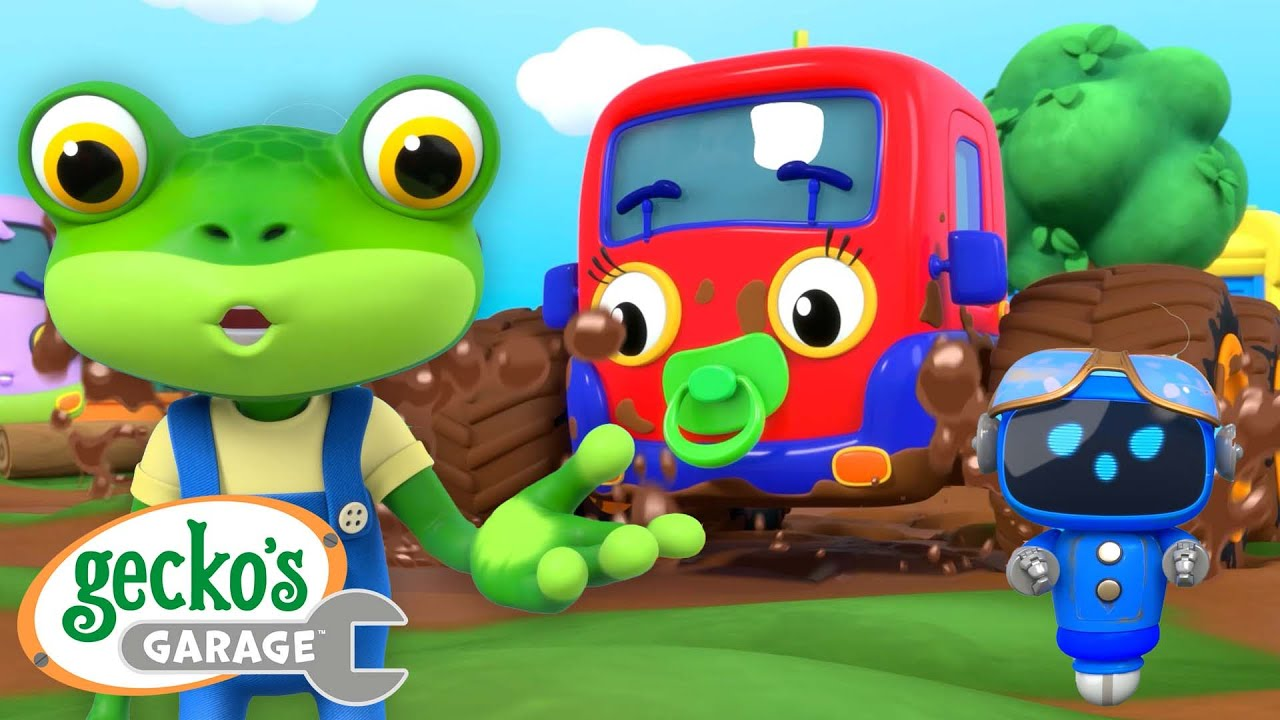 Muddy Baby Monster Truck!   Gecko's Garage   Trucks For Children   Cartoons For Kids