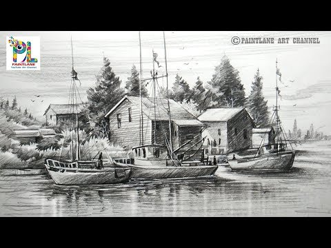 how-to-draw-old-sailboat-yard-landscape-with-pencil-for-beginners-|-step-by-step