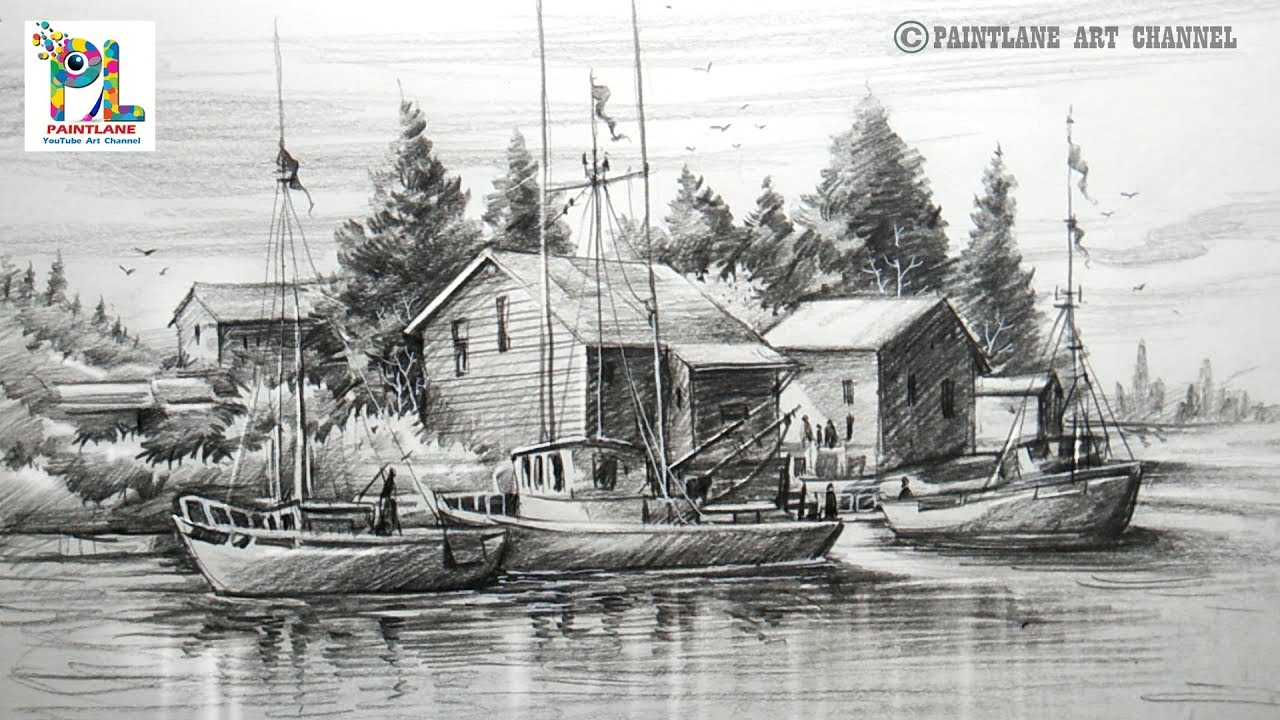 How To Draw Old Sailboat Yard Landscape With Pencil For