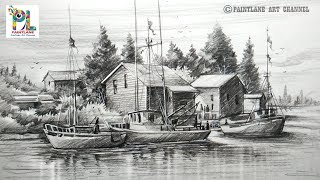How to Draw Old Sailboat Yard Landscape with Pencil For Beginners | Step by Step