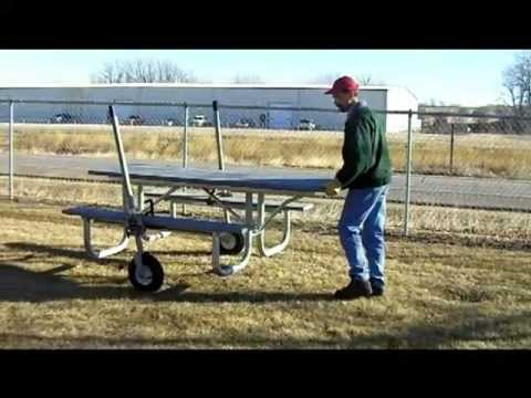 Pilot Rock Picnic Model TM Picnic Table Mover Demonstration - Picnic table mover
