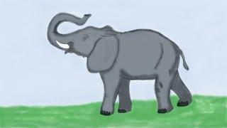 Слон рассказываем о животных  рисуем карандашом