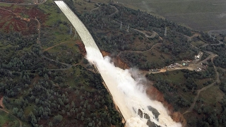 spillway aerial footage from oroville dam 2 10 17 8 30am