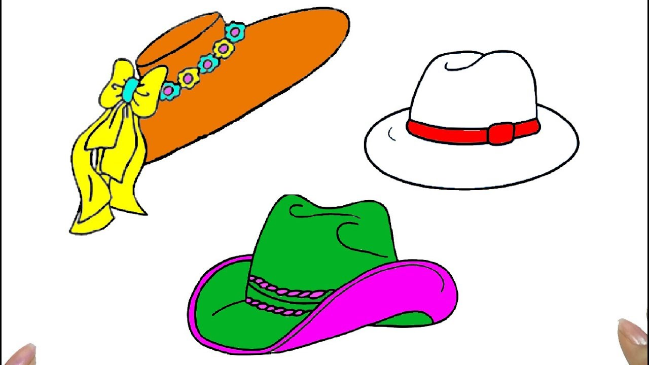 How to draw hat coloring pages for kids art colors for children