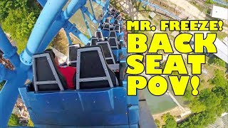 Mr.  Freeze Reverse Blast Roller Coaster Back Seat POV Six Flags St  Louis