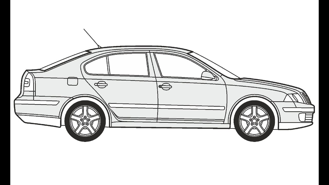 How to Draw a Skoda Octavia Limousine / Как нарисовать