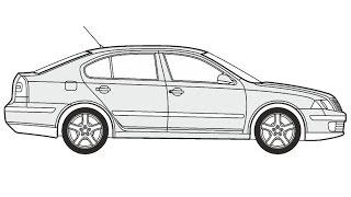 How to Draw a Skoda Octavia Limousine / Как нарисовать Skoda Octavia Limousine