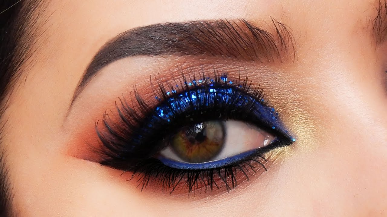 electric blue smokey eye makeup tutorial - youtube