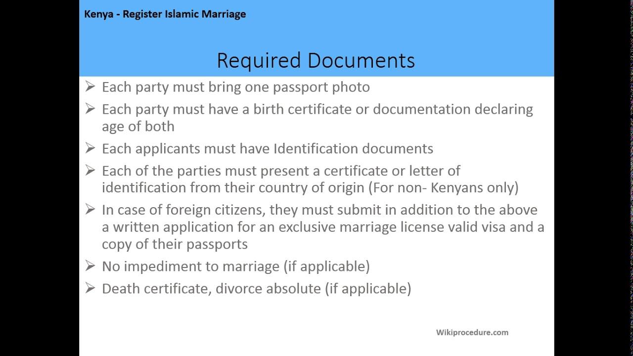 Kenya - Register Islamic Marriage