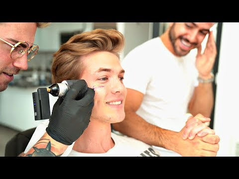 MALE MODEL GETS A FACE TATTOO!