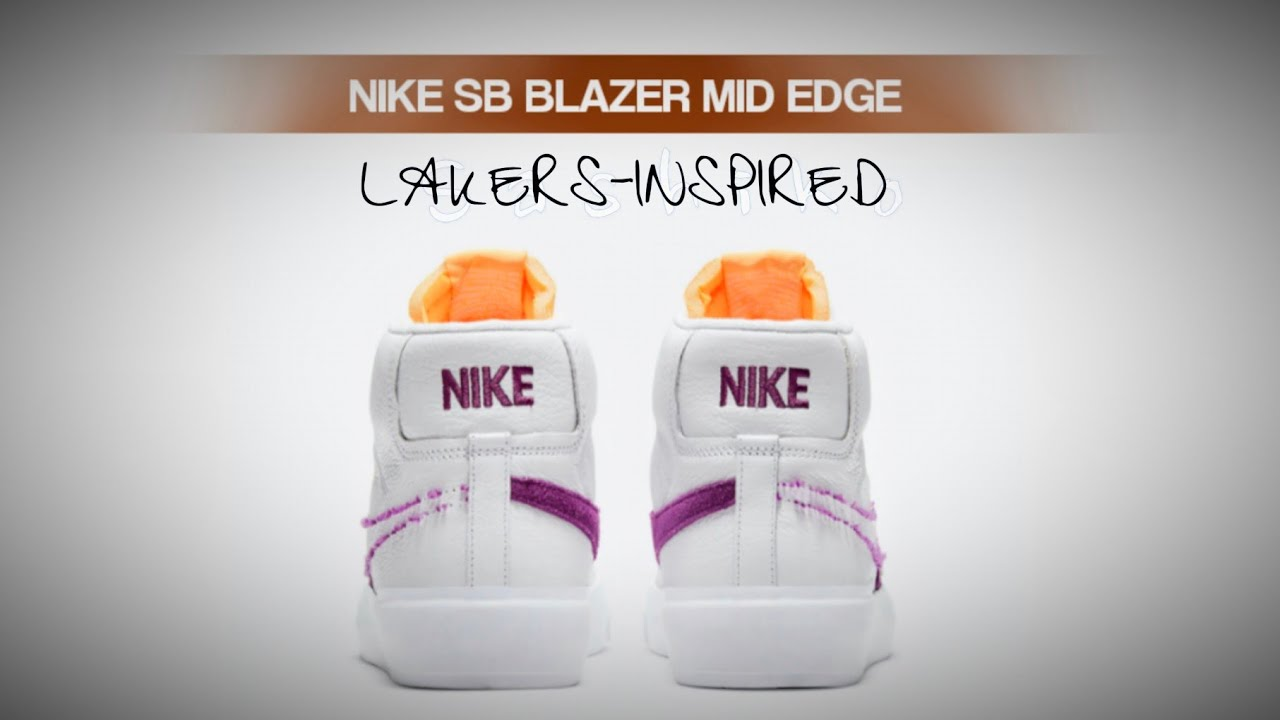 LAKERS-INSPIRED 2021 Nike SB Blazer Mid Edge DETAILED LOOK