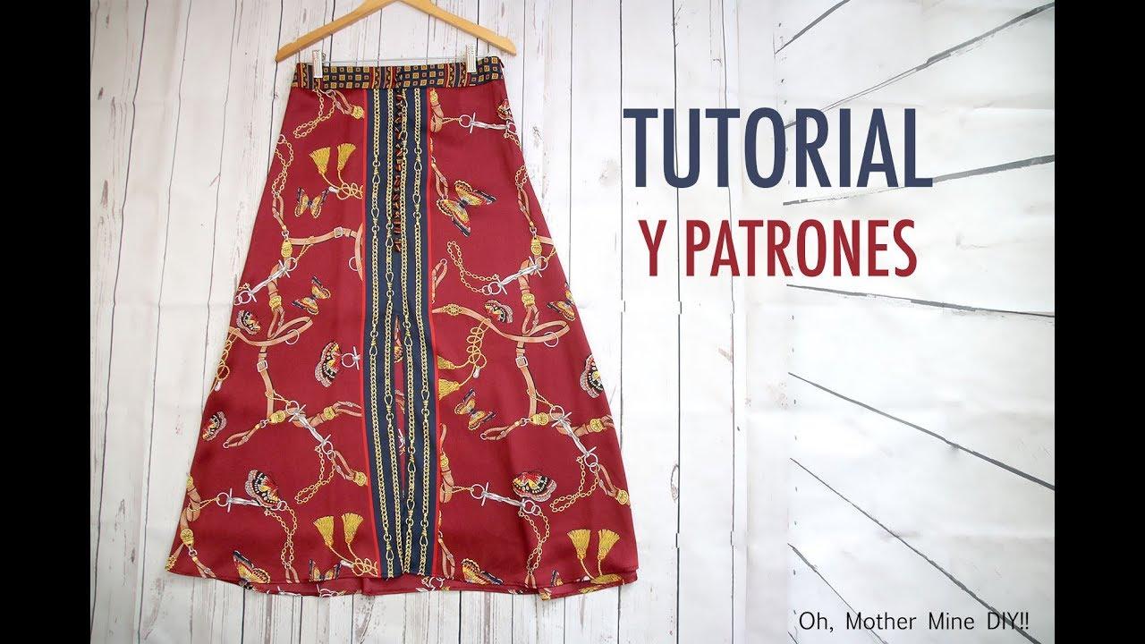 3c7eeb497 Patrones falda larga botones para mujer (gratis en varias tallas)