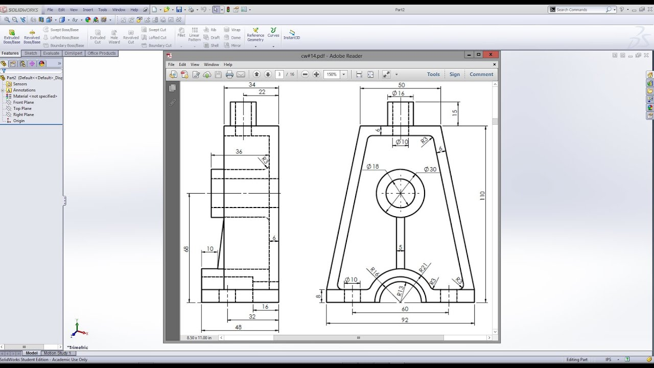 Solidworks Concluding A 3d Model From 2d Drawing Youtube