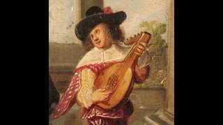 Antico dipinto francese scena galante con suonatore del XIX secolo