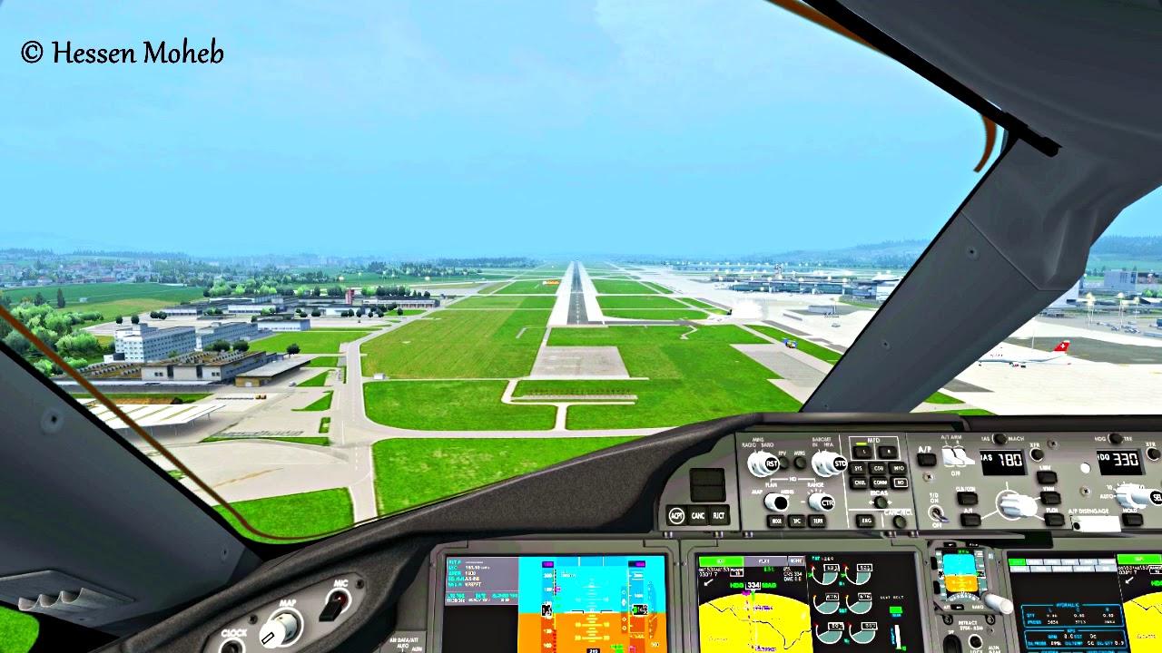 Boeing 787 Landing Cockpit View At Zurich