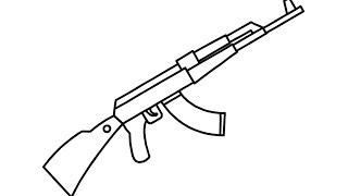 ak drawing draw gun easily 47 drawings step paintingvalley