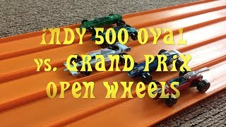 Hot Wheels Indy 500 Oval vs Grand Prix cars Drag Race off