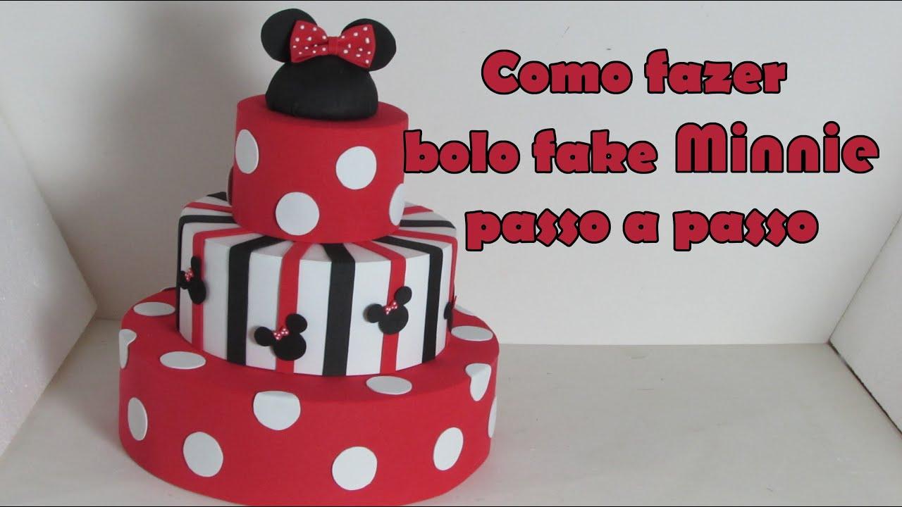 Como fazer Bolo fake Minnie passo a passo - YouTube e7d2a3a79dc