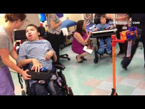 Video: one of the students at New England Pediatric Care plays with the nerf item that UMass Lowell