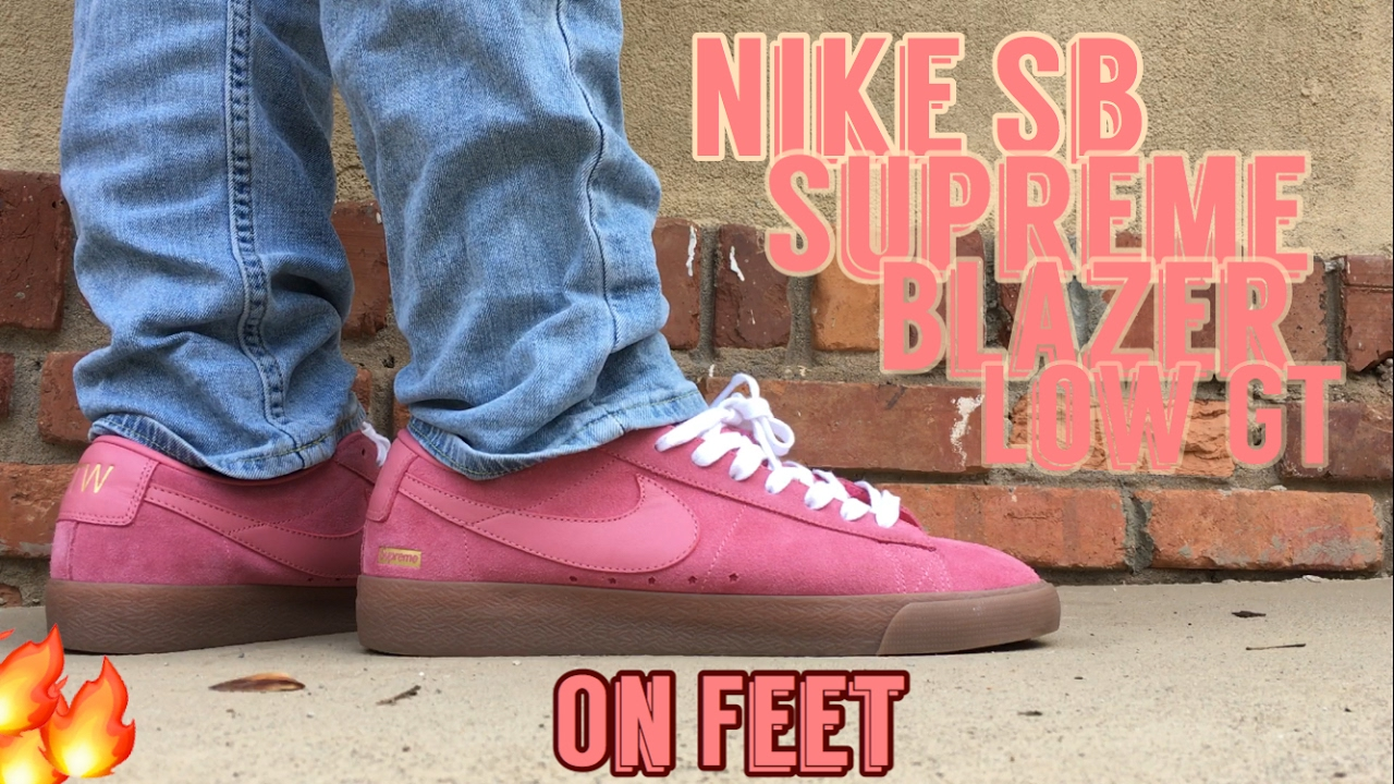 promo code b52cd 3f96e Nike SB Blazer Low GT Supreme Pink On Feet