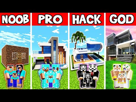 Minecraft: FAMILY SIMPLE MODERN HOUSE BUILD CHALLENGE - NOOB vs PRO vs HACKER vs GOD in Minecraft