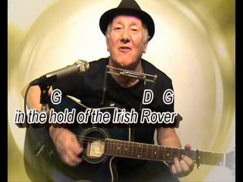 The Irish Rover - Dubliners - easy chords guitar lesson-on-screen chords lyrics (guitar/mouth organ)