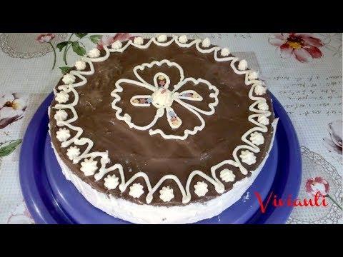 Бисквитена торта с шоколадов пудинг и банани