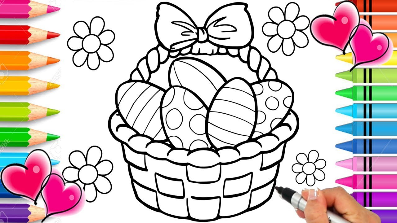 Easter Basket Coloring Page  Easter Coloring Book  Glitter Sparkle Easter  Eggs  Printable Rainbow