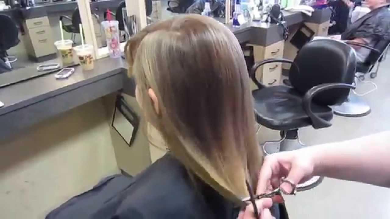 Haircut On Long Blonde Hair Chopped Off To A Bob Hair Cut