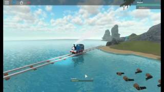 thomas falls in the water at pirate island Roblox