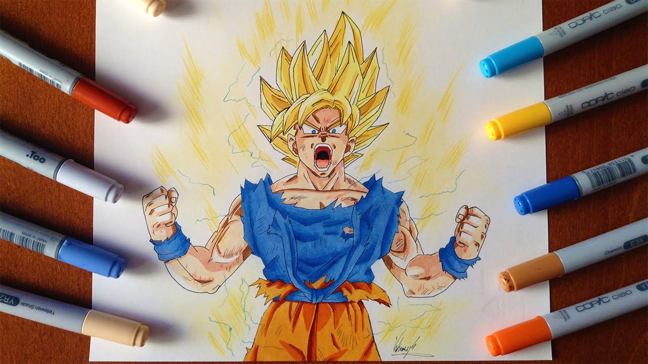 Disegno Drawing Goku Ssj Super Saiyan Dragon Ball Youtube