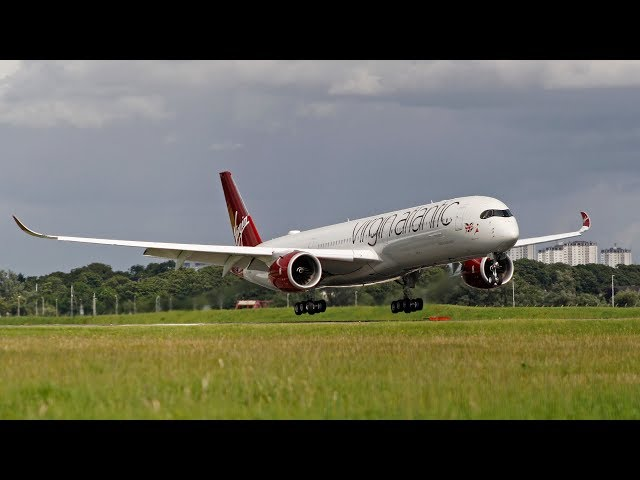Virgin Airbus A350-1000 G-VLUX training at Glasgow Airport