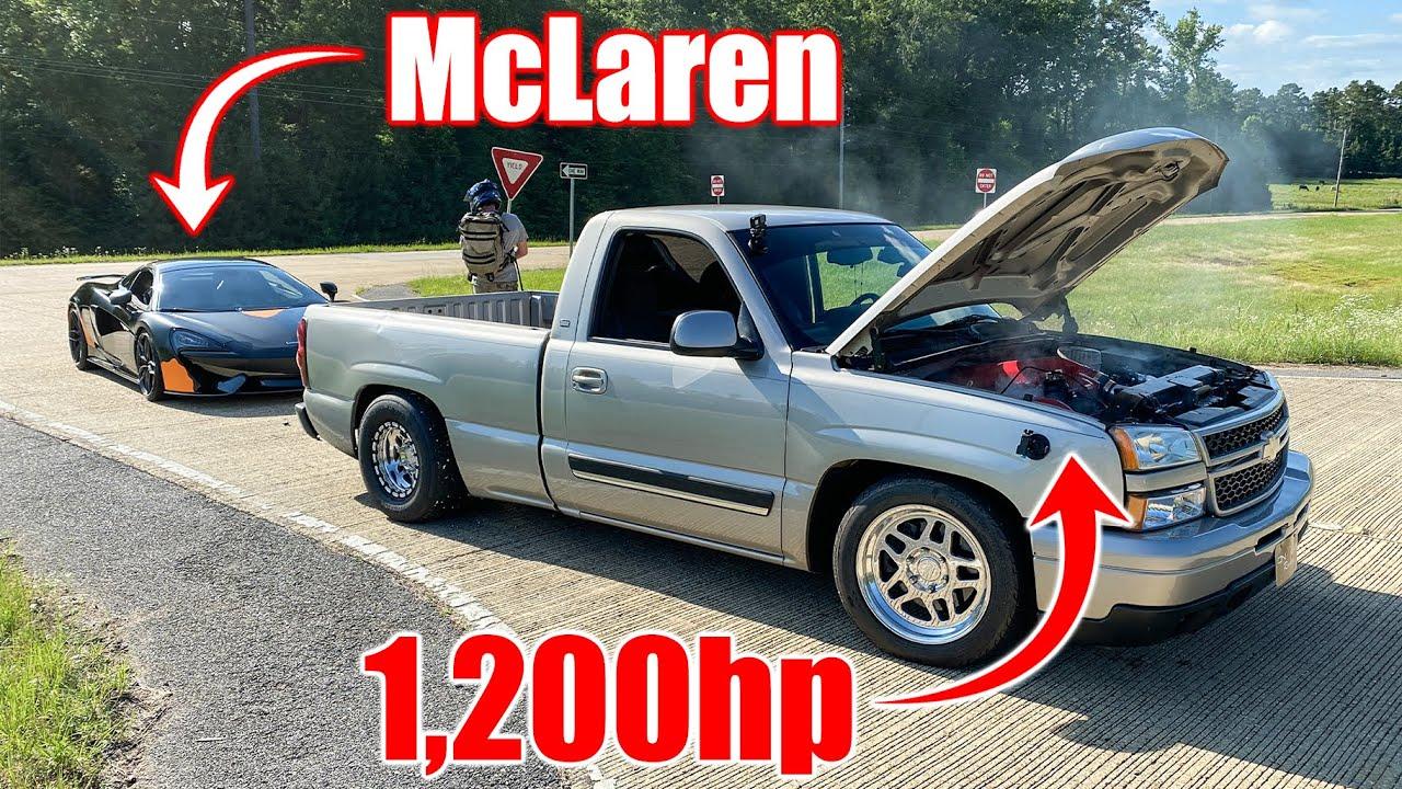 1,200hp Big Turbo Truck Blows Up Racing McLaren!!