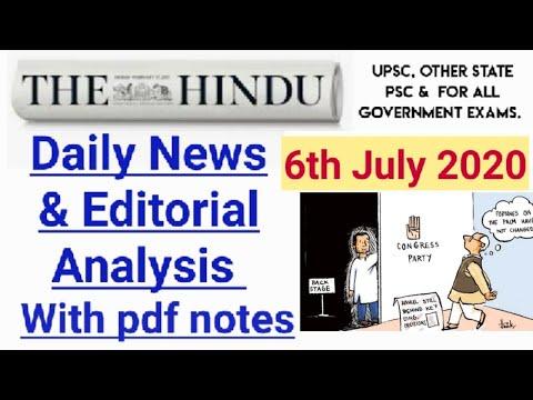 6 July 2020 | The Hindu Newspaper Analysis | Today's The Hindu News Analysis.
