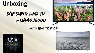 Unboxing Samsung LED TV UA40J5000 with Specifications