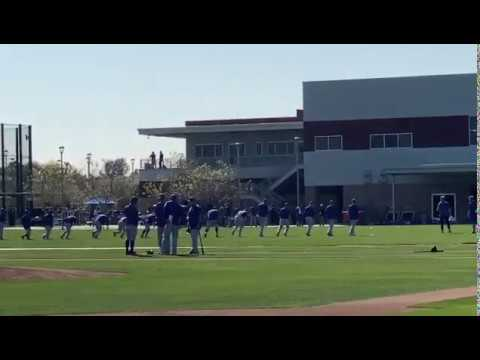 Cubs players running in warm-ups - Chicago Cubs 2020 Spring Training