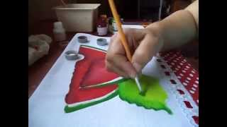 Pintura p/ iniciante: melancia e folhas