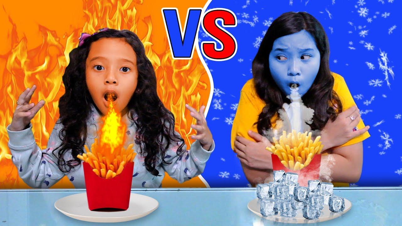 Challenge Hot FOOD Vs FROZEN Food **Rasanya KACAU***