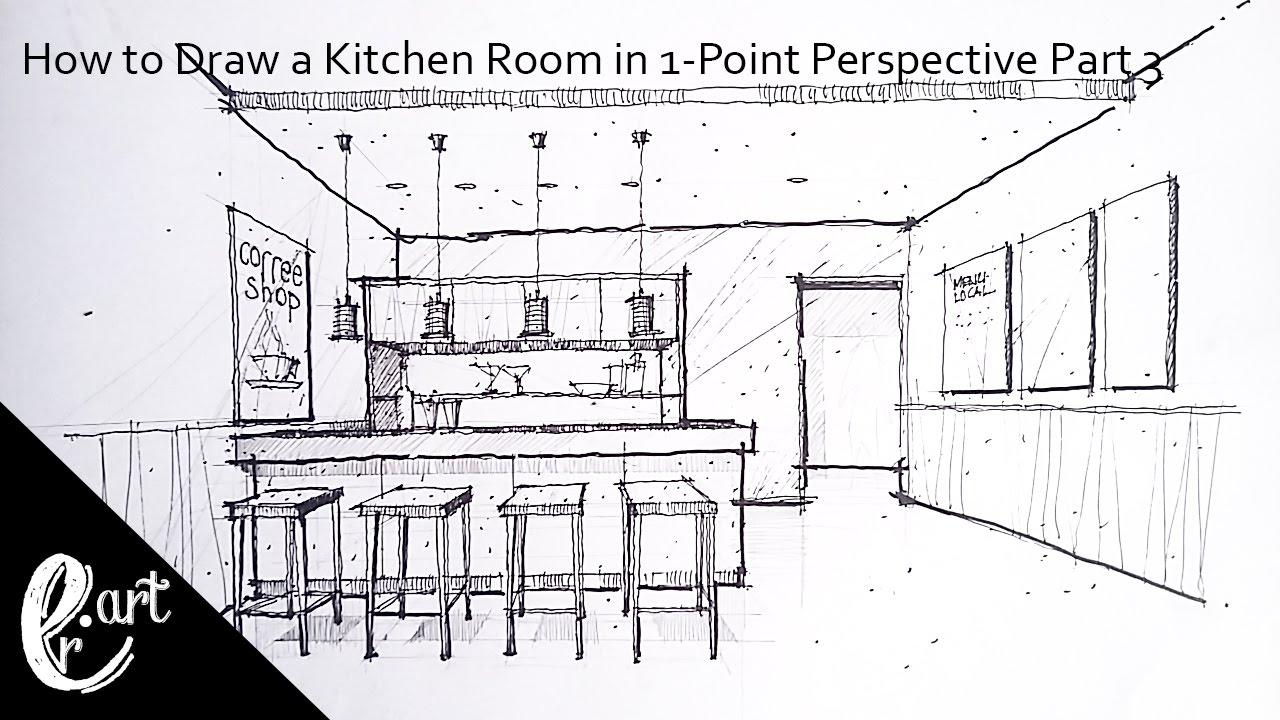 Kitchen perspective drawing - Part 3 How To Draw A Kitchen Room In 1 Point Perspective