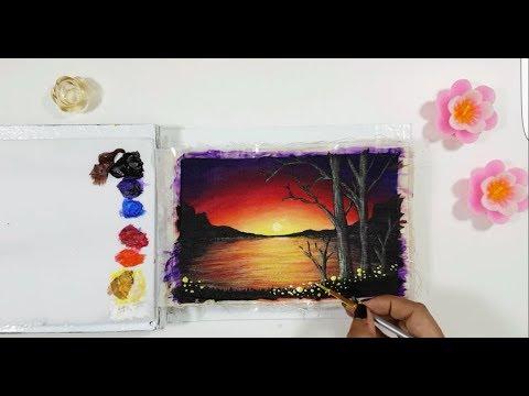 Sunset at the Lake Step by Step Acrylic Painting | Nishat Munia