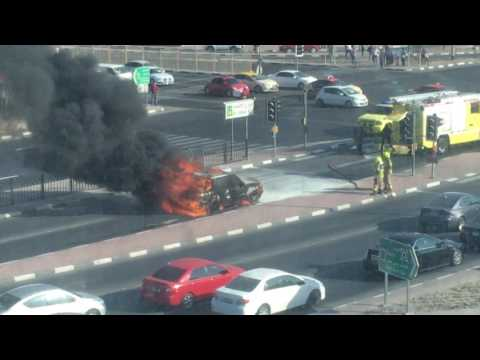 Car Catches fire at Deira-Dubai