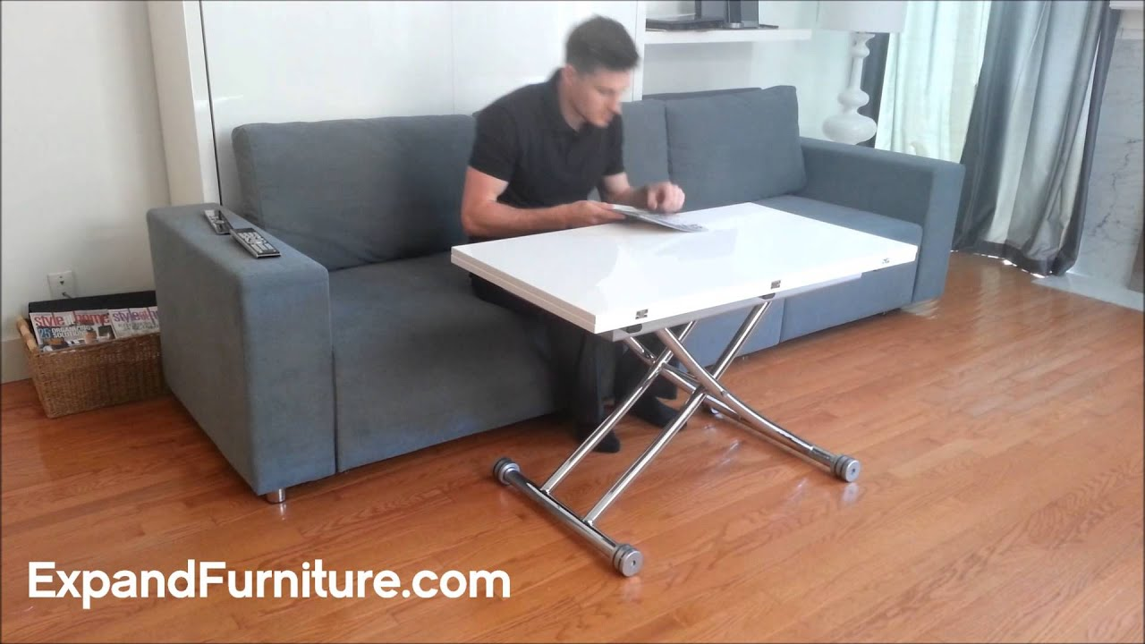 Transforming Apartment Demo Wall Bed Sofa And White Gloss Table