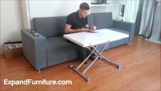 Transforming Apartment Demo. Wall Bed Sofa And White Gloss Transforming Table