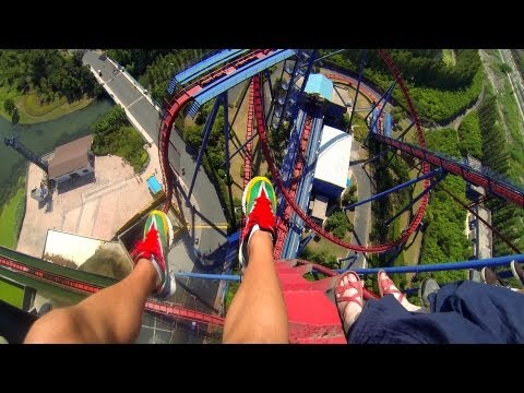 HUGE Vertical Drop !!! Diving Roller Coaster