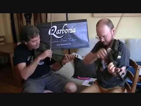 Oriol Saña & Casey Driessen playing on carbon fiber violins