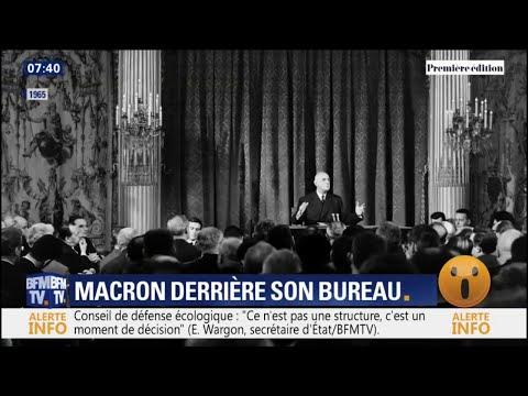 Contrairement à Hollande ou Sarkozy, Macron derrière un bureau... comme le général De Gaulle