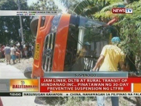 Jam Liner, DLTB at Rural Transit of Mindanao Inc., pinatawan ng 30-day preventive suspension